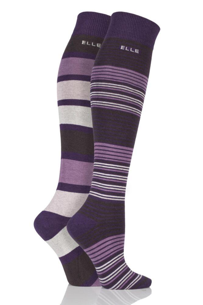 Ladies 2 Pair Elle Striped Cotton Knee High Socks