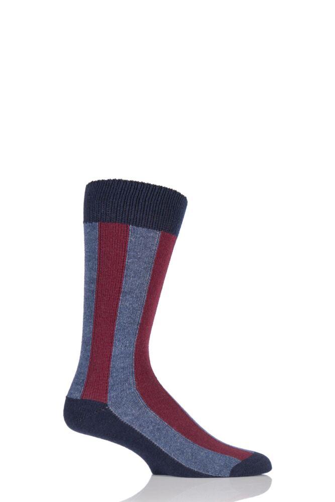 Mens 1 Pair HJ Hall Deckchair Vertical Striped Luxury Lambswool Socks