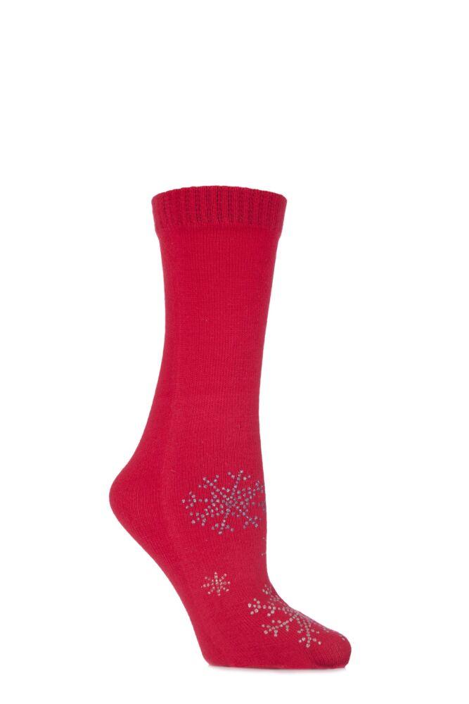 Ladies 1 Pair Elle Glitter Snowflake Toe Sock