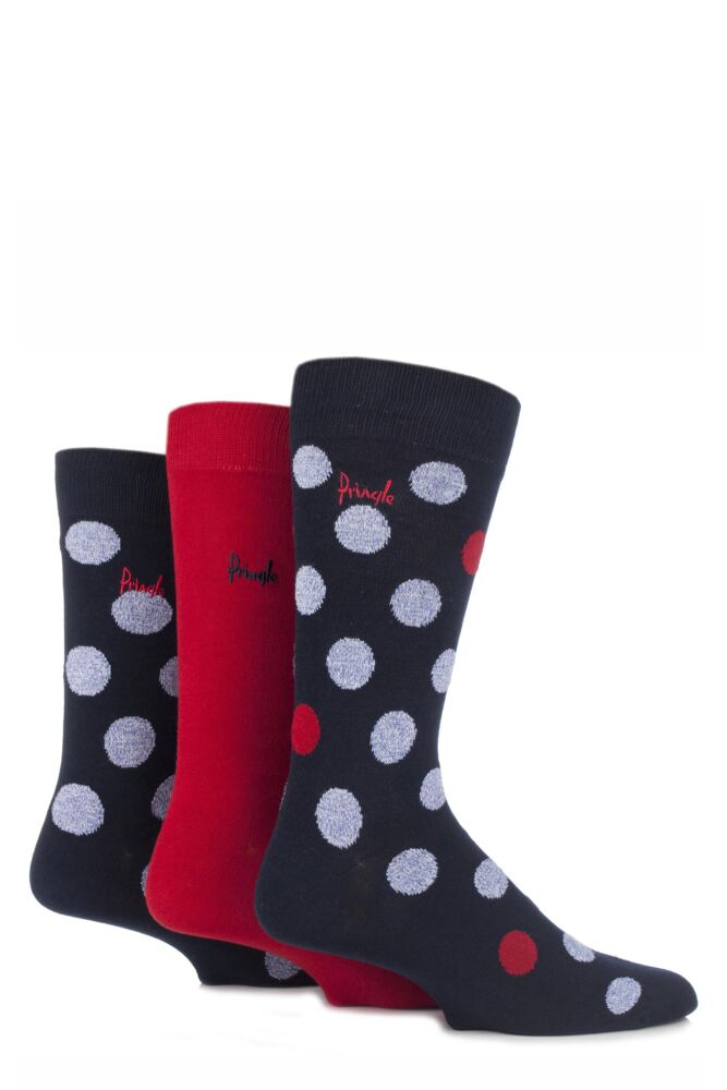 Mens 3 Pair Pringle Balmaha Fluffy Polka Dot Cotton Socks