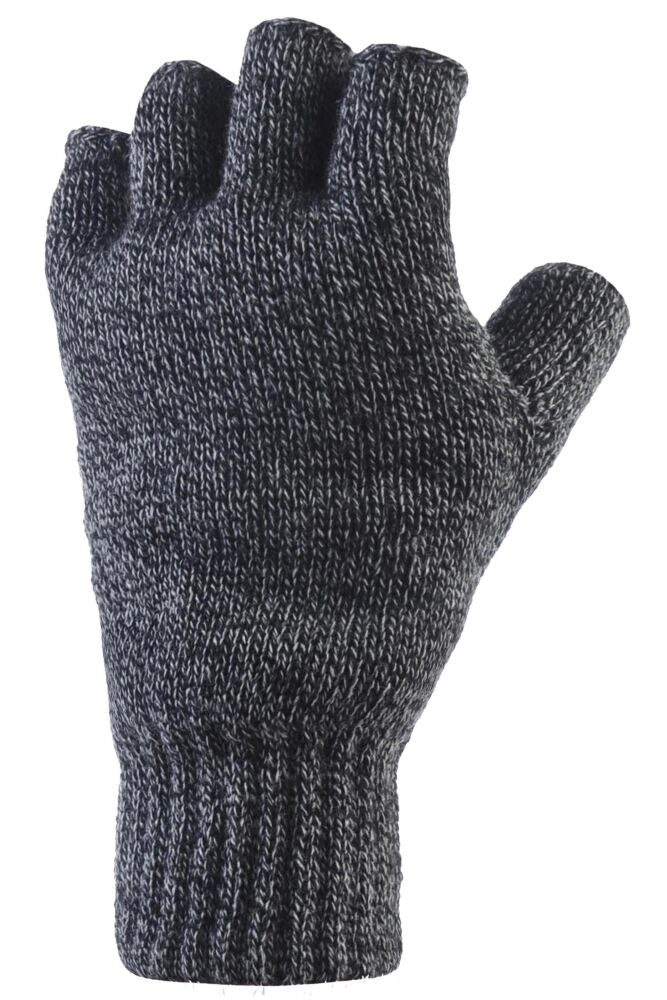 Mens 1 Pair Heat Holders 3.2 Tog Heatweaver Yarn Fingerless Gloves