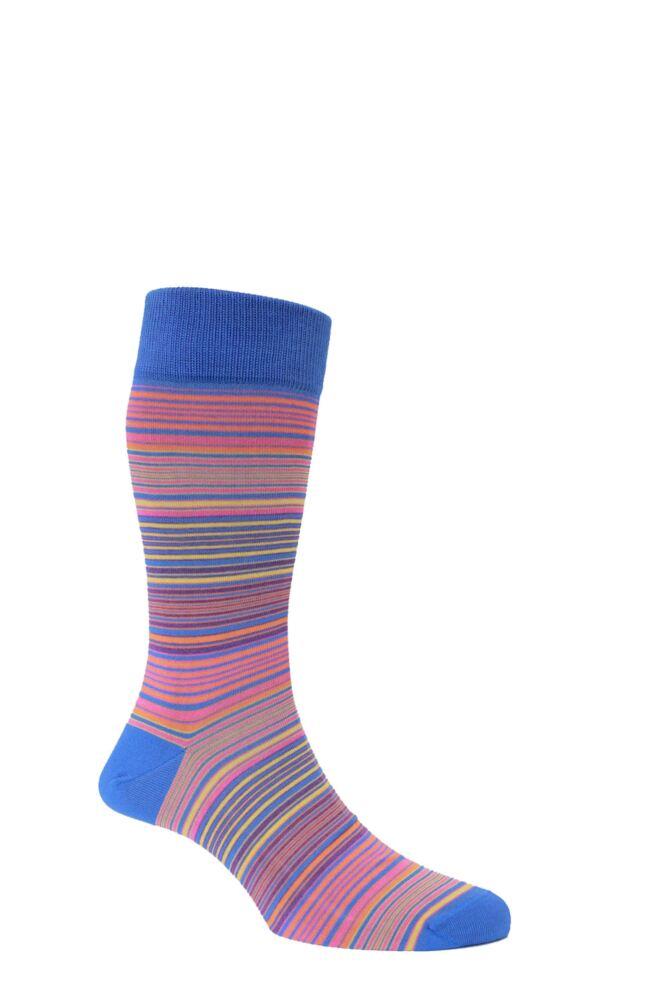 Mens 1 Pair HJ Hall Mercerised Cotton Atlanta Multi Coloured Fine Striped Socks