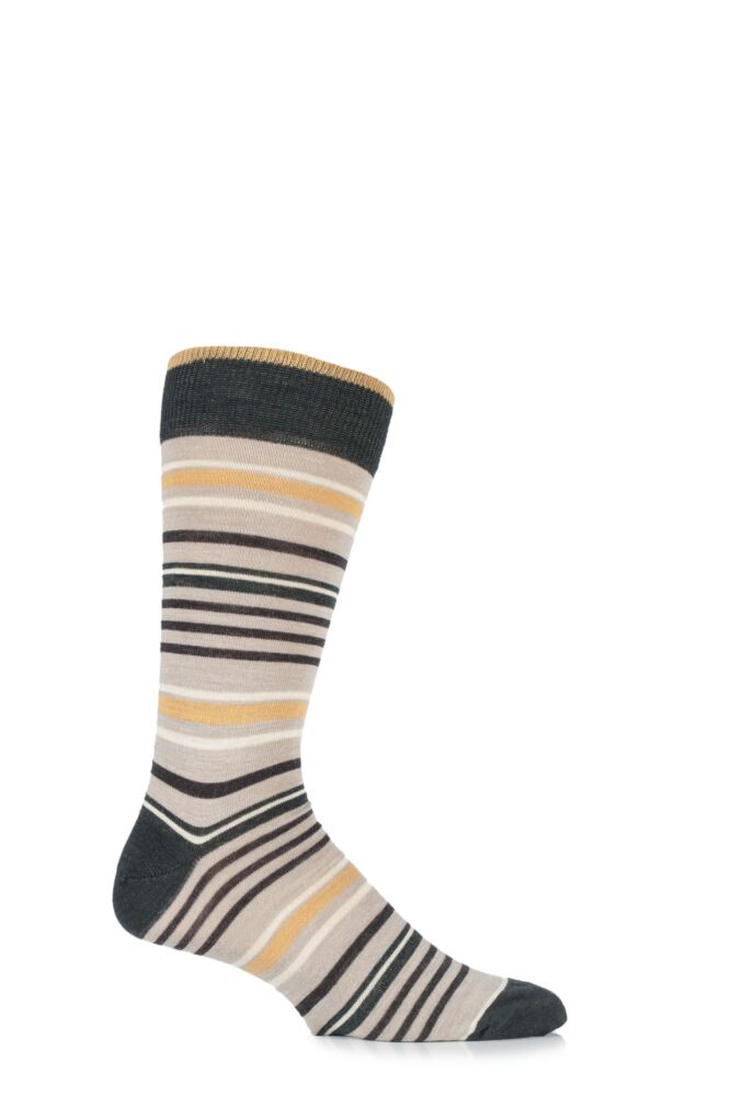 Mens 1 Pair Viyella Varied Stripe Wool Blend Socks