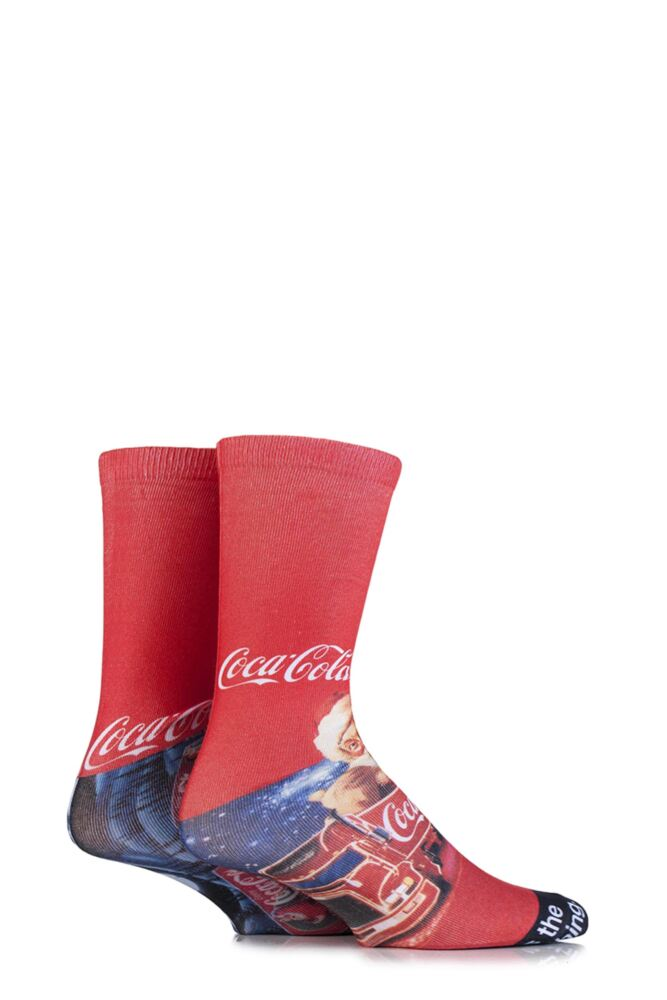 Mens 2 Pair Coca Cola Holidays Are Coming Iconic Truck Printed Socks