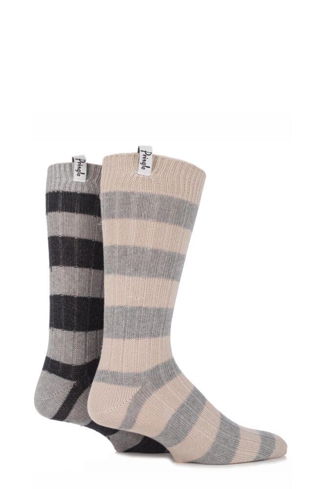 Mens 2 Pair Pringle Renfrew Block Striped Ribbed Leisure Socks