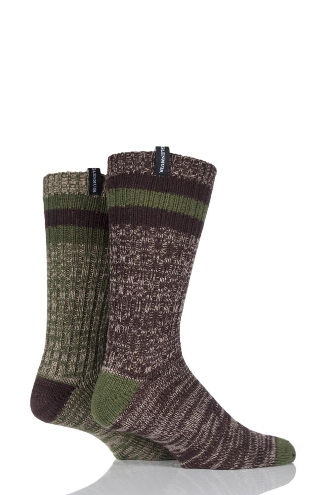 Mens 2 Pair Glenmuir Wool Blend Plain Marl Boot Socks with Top Stripe