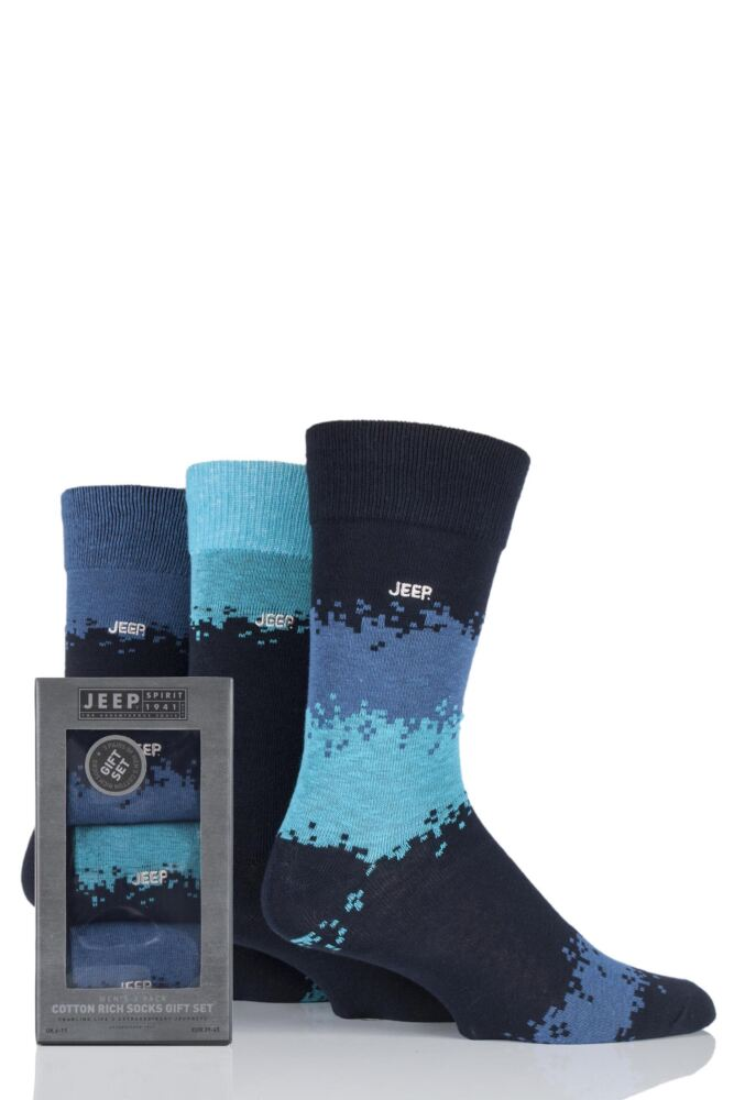 Mens 3 Pair Jeep Striped Cotton Socks Gift Box