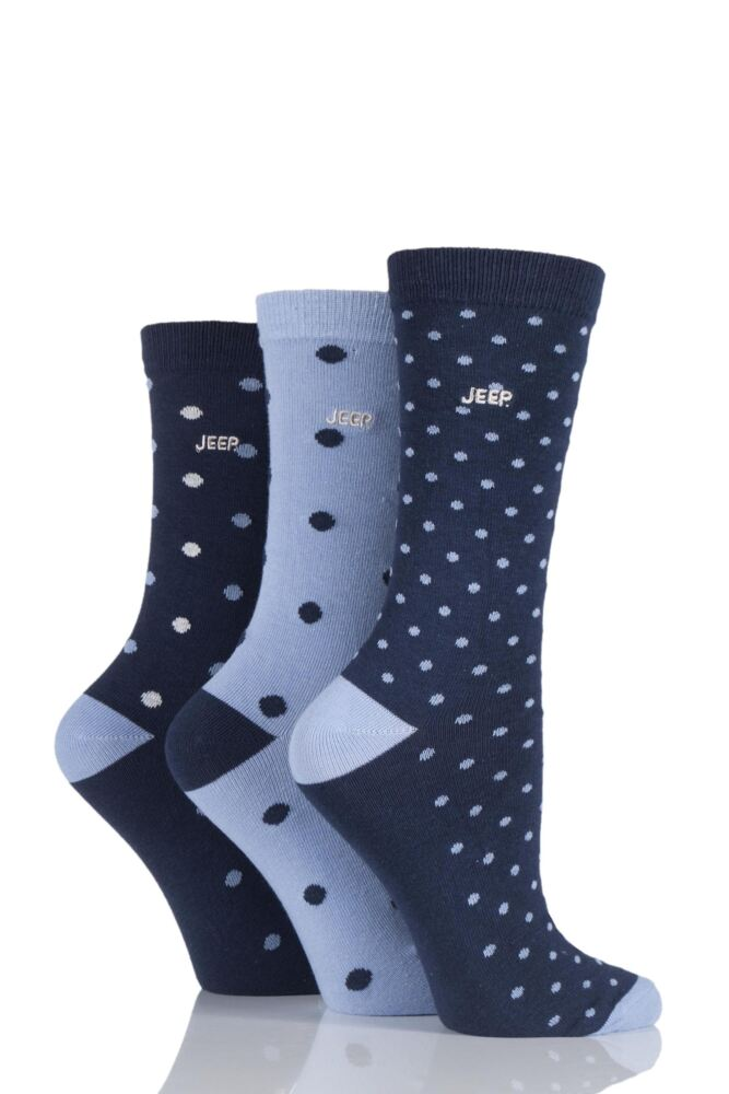 Ladies 3 Pair Jeep Spirit Mixed Spots and Dots Cotton Socks