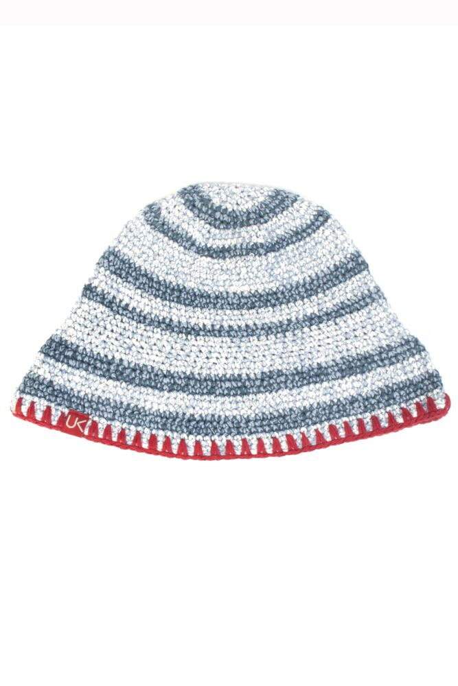 Ladies Urban Knit Blue Stripe Festival Sun Hat 75% OFF