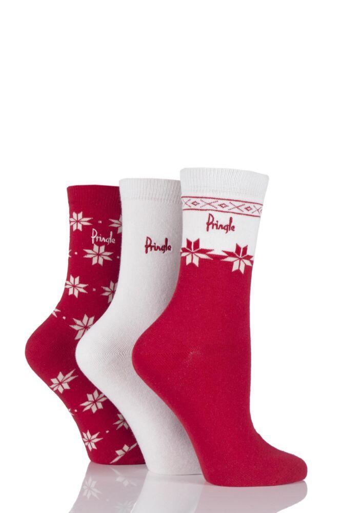 Ladies 3 Pair Pringle Sasha Snowflake and Plain Socks