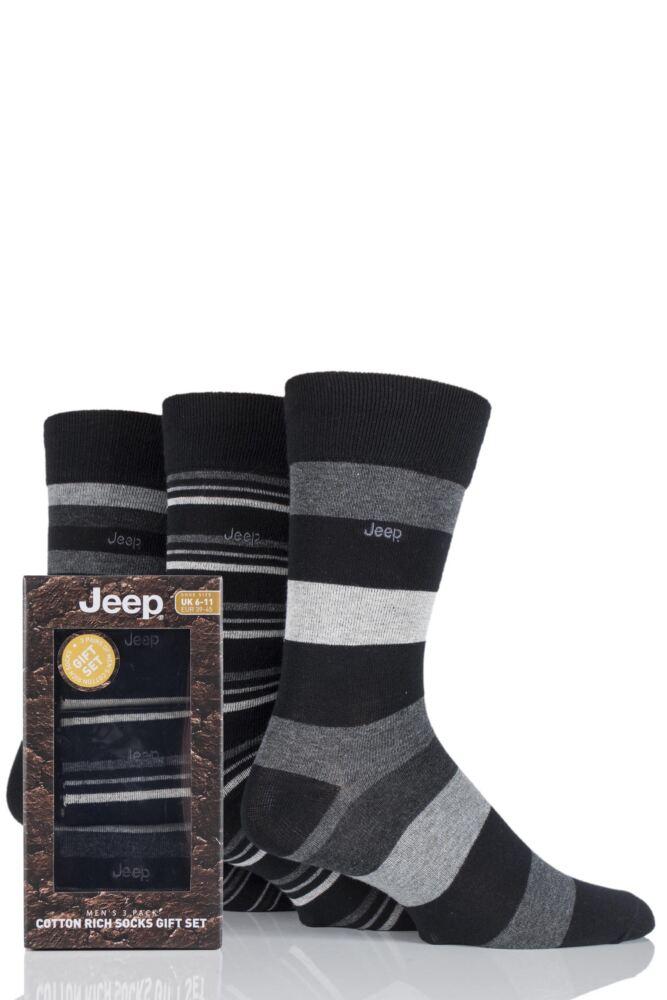 Mens 3 Pair Jeep Broad Striped Cotton Socks Gift Box