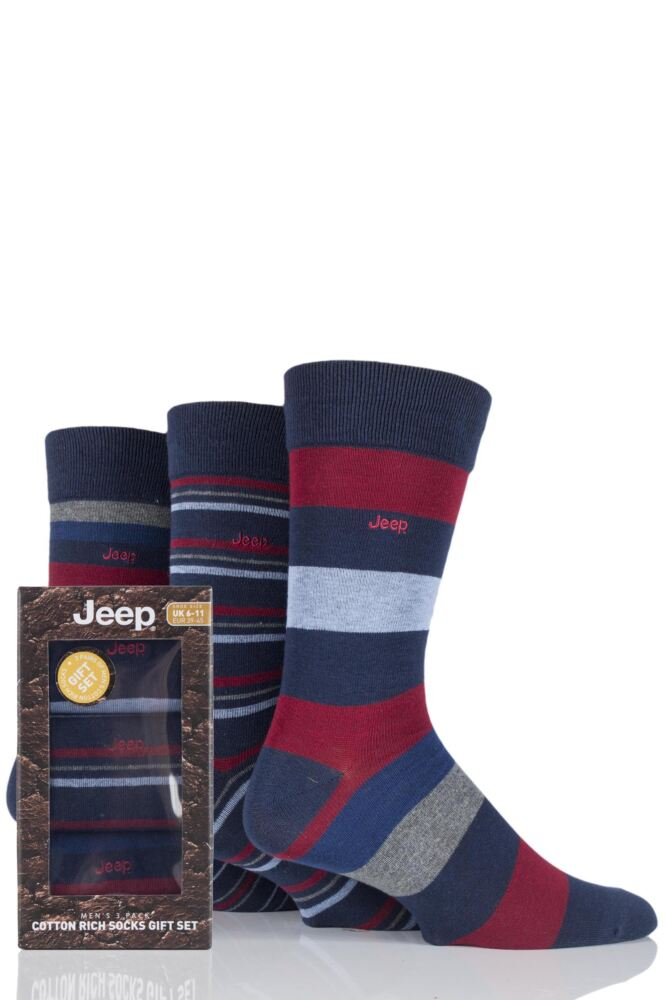 Mens 3 Pair Jeep Broad Striped Cotton Socks Gift Box