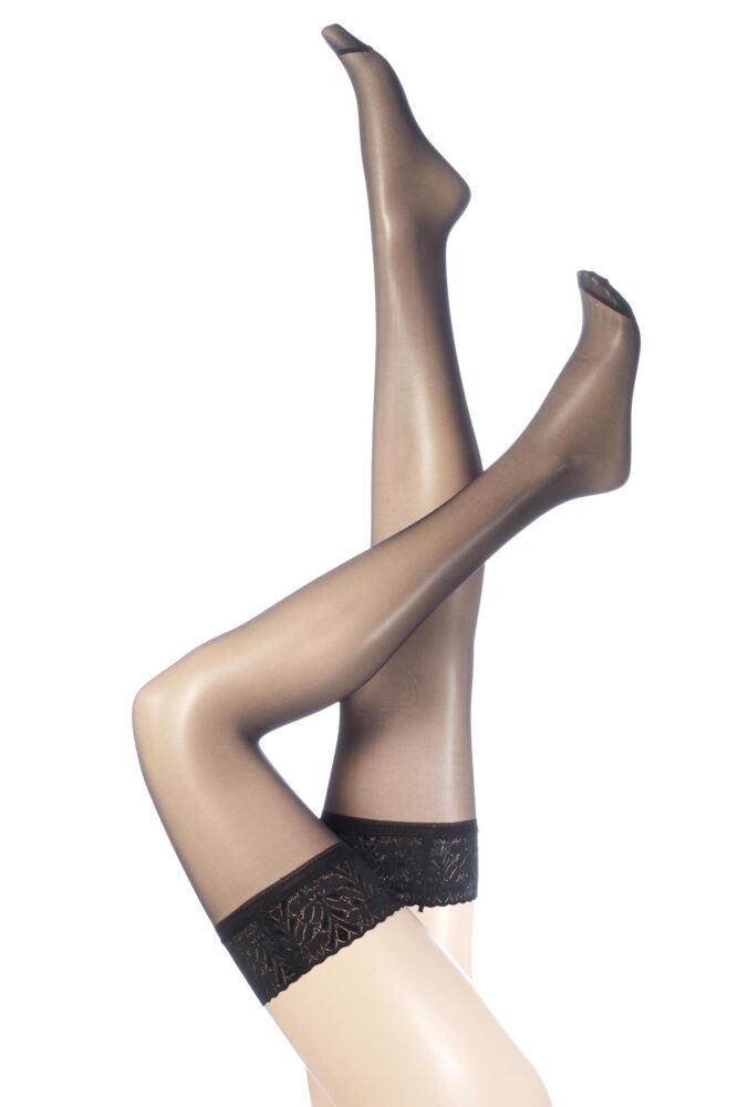 Ladies 1 Pair SockShop 10 Denier Classic Nylon Lace Top Stockings