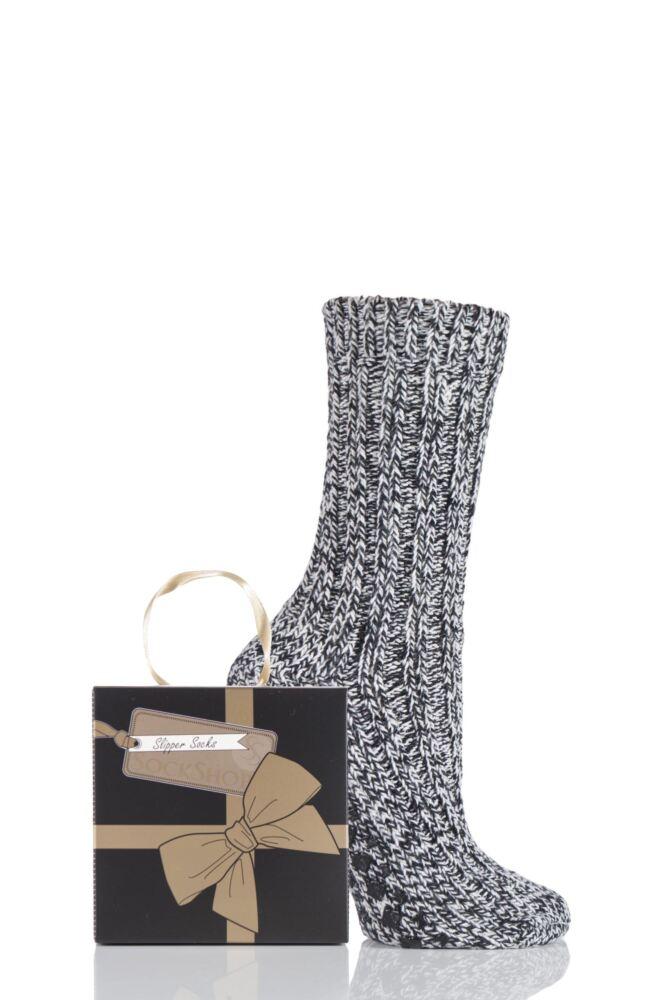 Ladies 1 Pair SockShop Chunky Marl Slipper Socks Gift Box