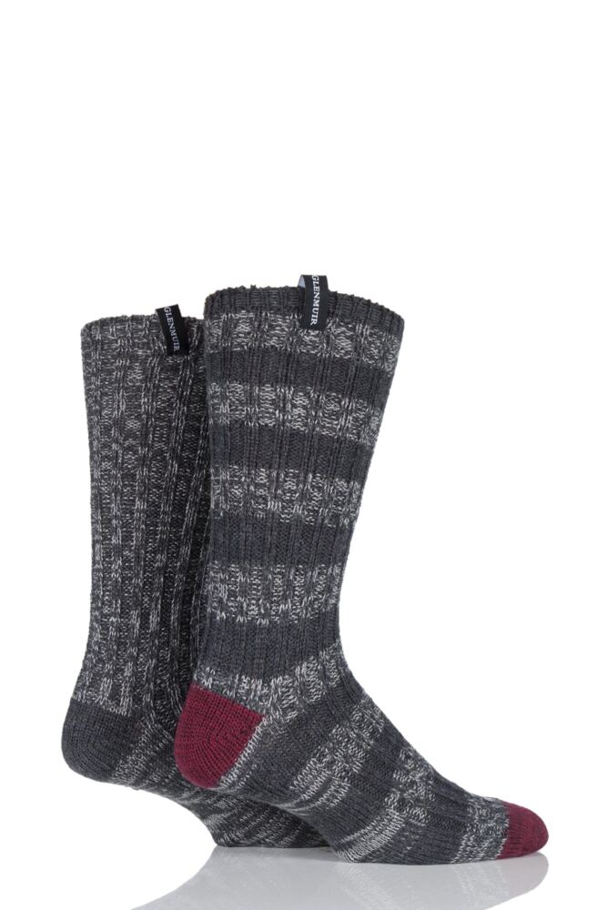Mens 2 Pair Glenmuir Wool Blend Ribbed Striped and Plain Contrast Boot Socks 25% OFF