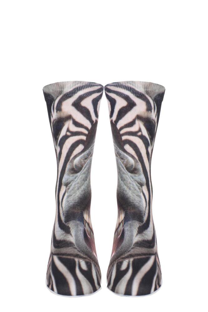 Mens 1 Pair SockShop Dare to Wear Pixel Perfect Zebra Smile Printed Socks