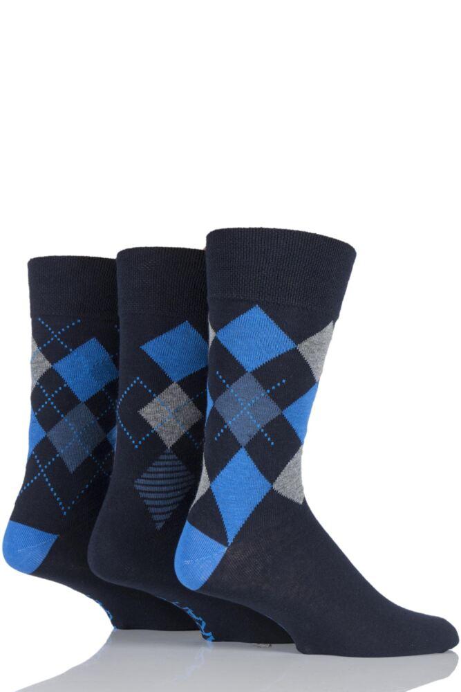 Mens 3 Pair Farah Classic Deluxe Argyle Cotton Socks