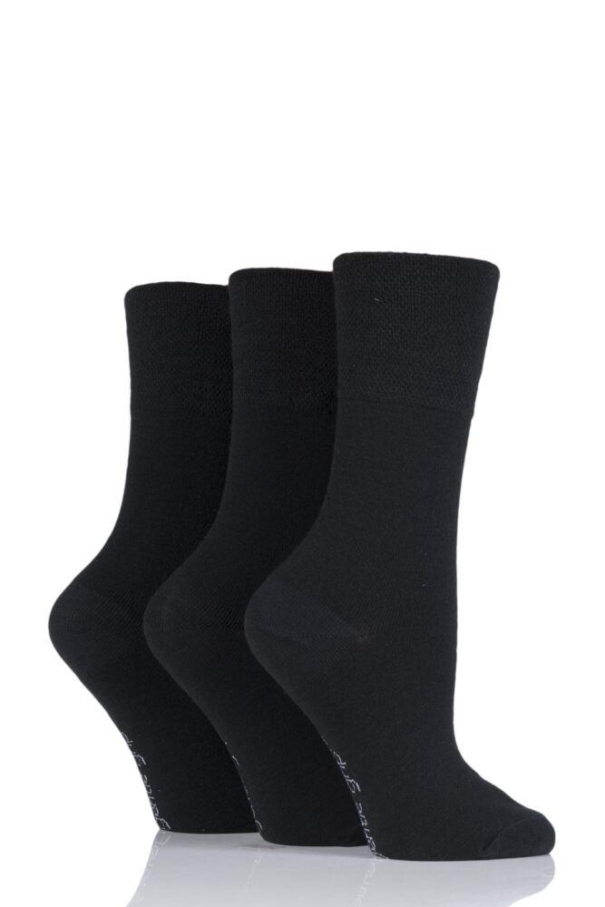 Ladies 3 Pair Gentle Grip Plain Wool Socks