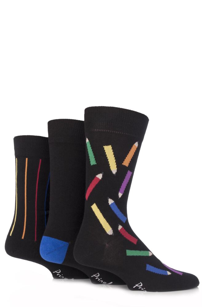 Mens 3 Pair Pringle Coloured Pencil Novelty Cotton Socks