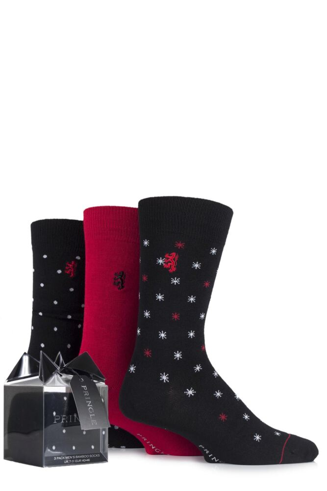 Mens 3 Pair Pringle Black Label Gift Boxed Plain, Spotty and Star Patterned Bamboo Socks 25% OFF