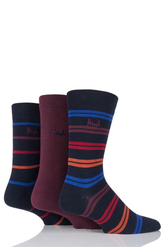 Mens 3 Pair Pringle Kentallen Plain and Striped Cotton Socks