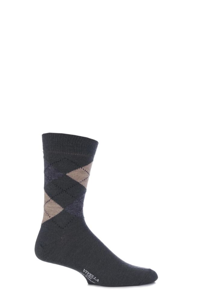 Mens 1 Pair Viyella Short Wool Argyle Socks Made In England