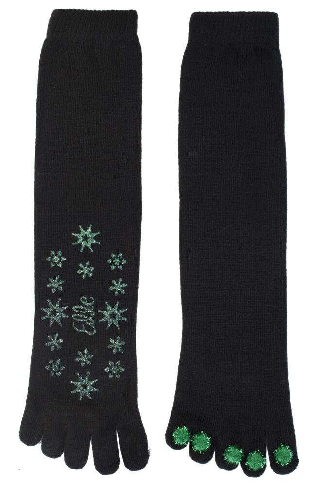 Ladies 1 Pair Elle Toe Socks With Pom Poms and Glitter Grip