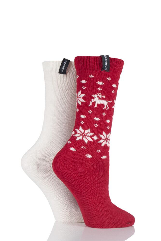 Ladies 2 Pair Glenmuir Reindeer Fairisle Wool Blend Boot Socks