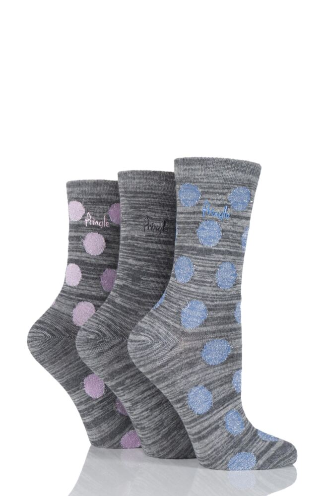 Ladies 3 Pair Pringle Salena Space Dye Dots and Plain Socks