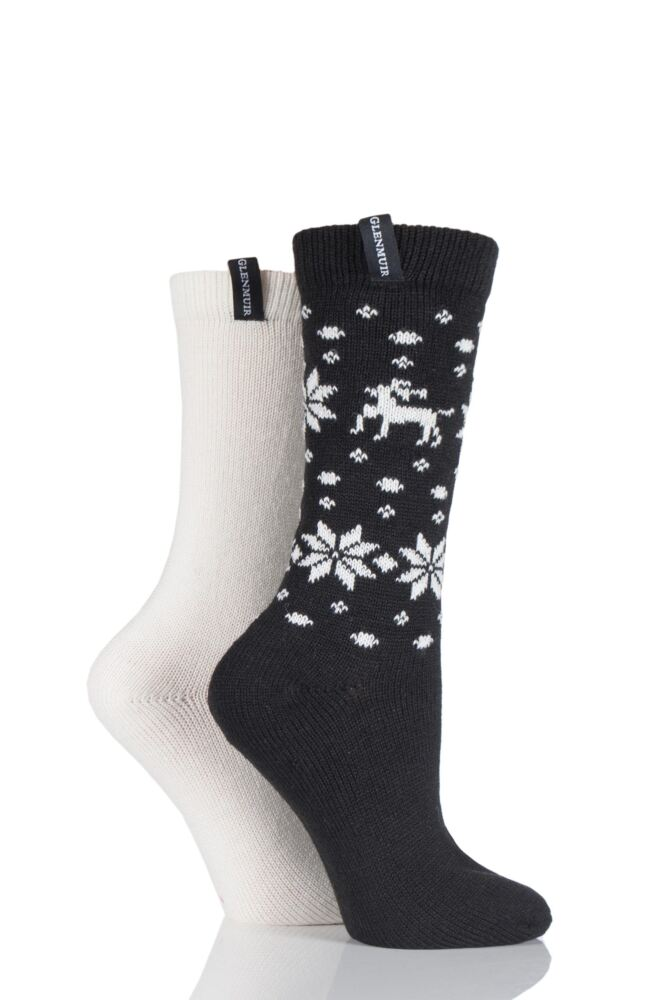 Ladies 2 Pair Glenmuir Reindeer Fairisle Wool Blend Boot Socks