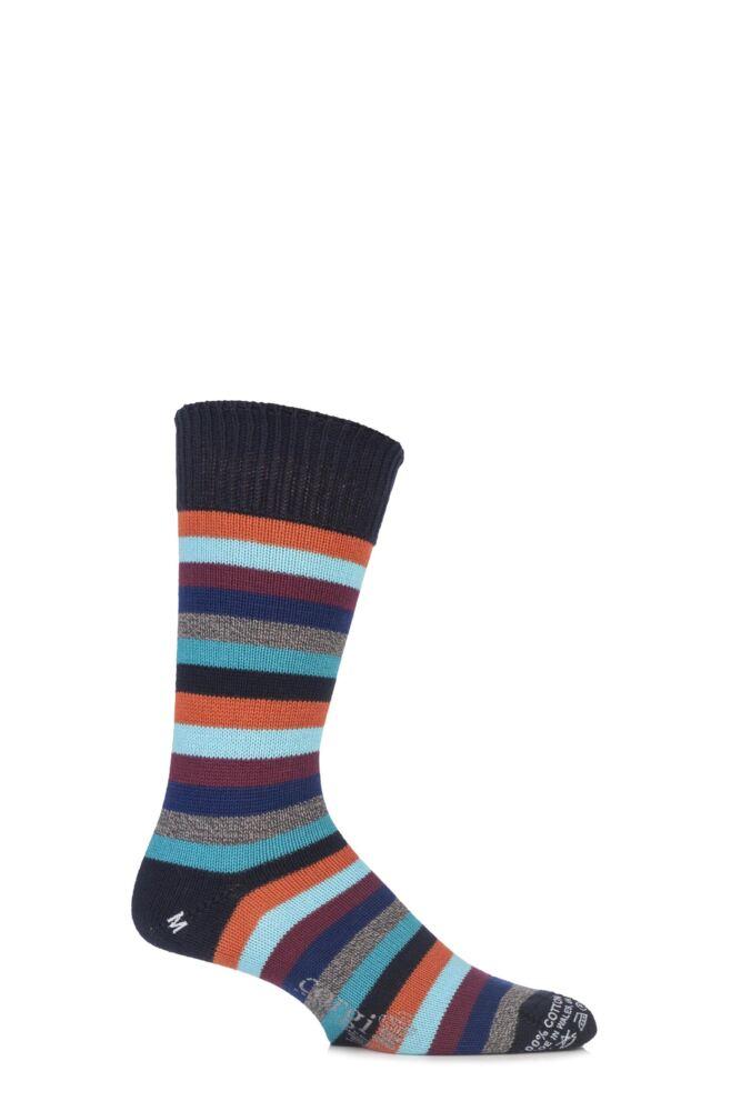 Mens 1 Pair Corgi 100% Cotton Multi Striped Socks
