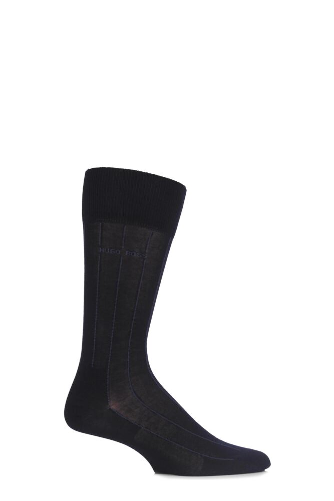 Mens 1 Pair Hugo Boss George 80% Mercerised Cotton Pinstriped Socks