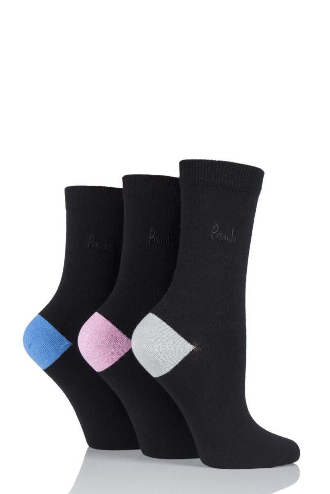 Ladies 3 Pair Pringle Tracey Plain Socks with Contrast Glitter Heel