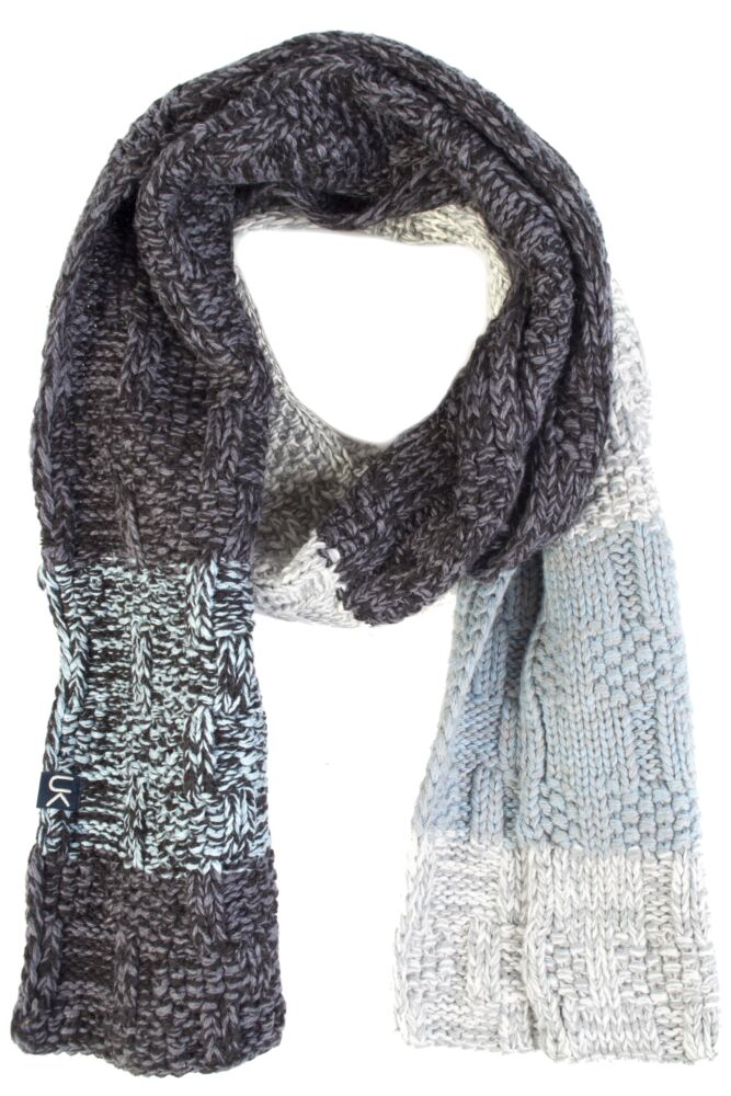 Mens Urban Knit Rugged Cotton Rich Chunky Three Colour Scarf 75% OFF