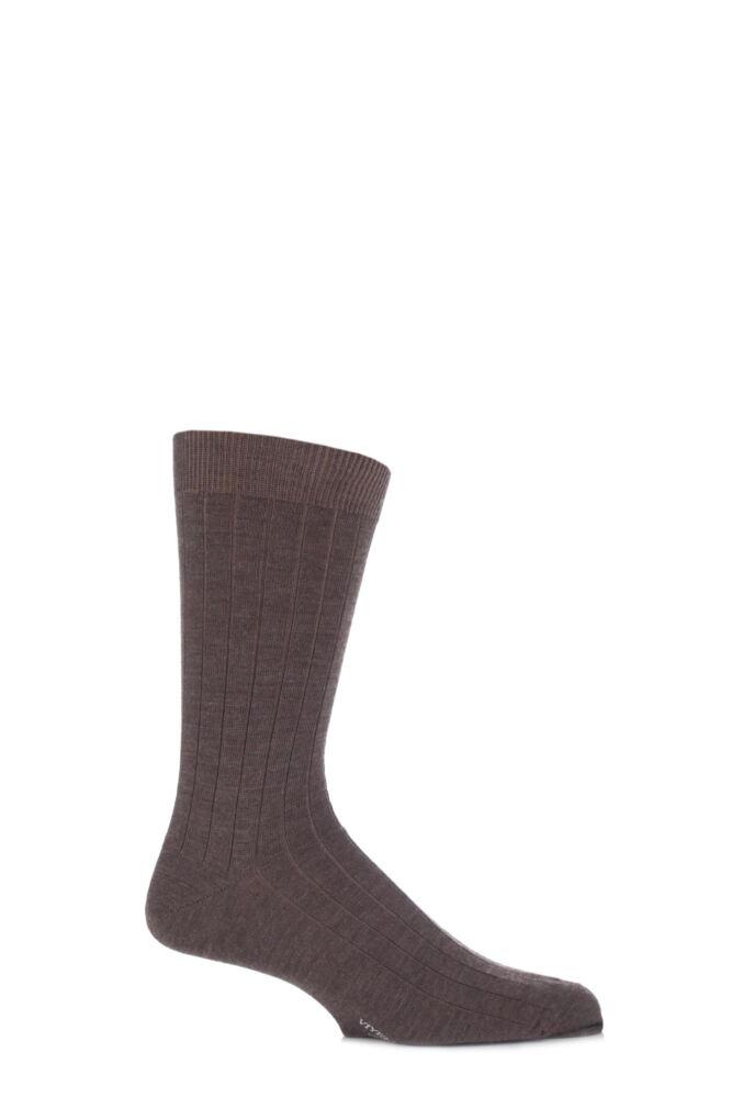 Mens 1 Pair Viyella Short Wool Ribbed Socks With Hand Linked Toe