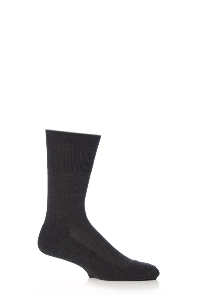 Mens 1 Pair Falke Airport Plus Plain Virgin Wool and Cotton Cushioned Business Socks
