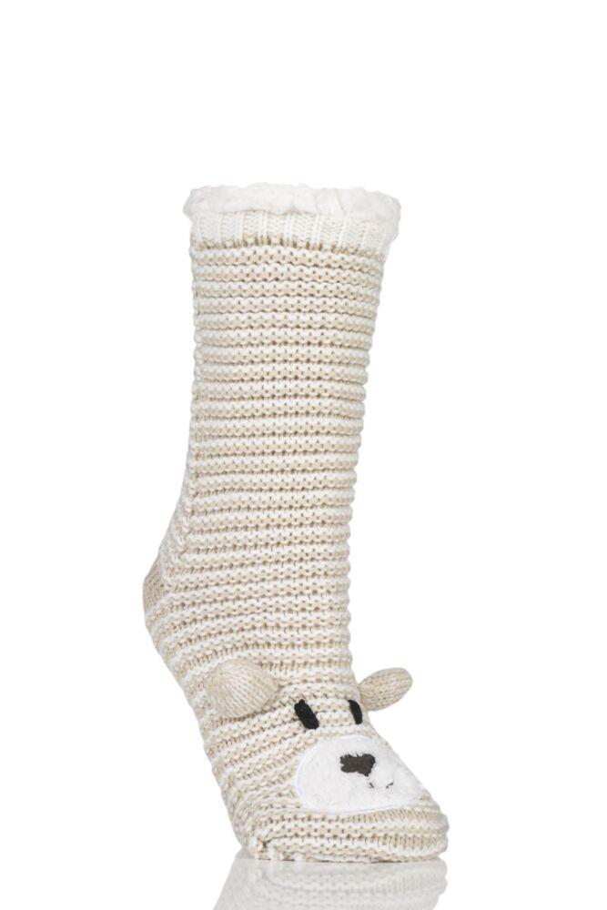Ladies 1 Pair Totes Sherpa Lined Chunky Novelty Bear Slipper Socks