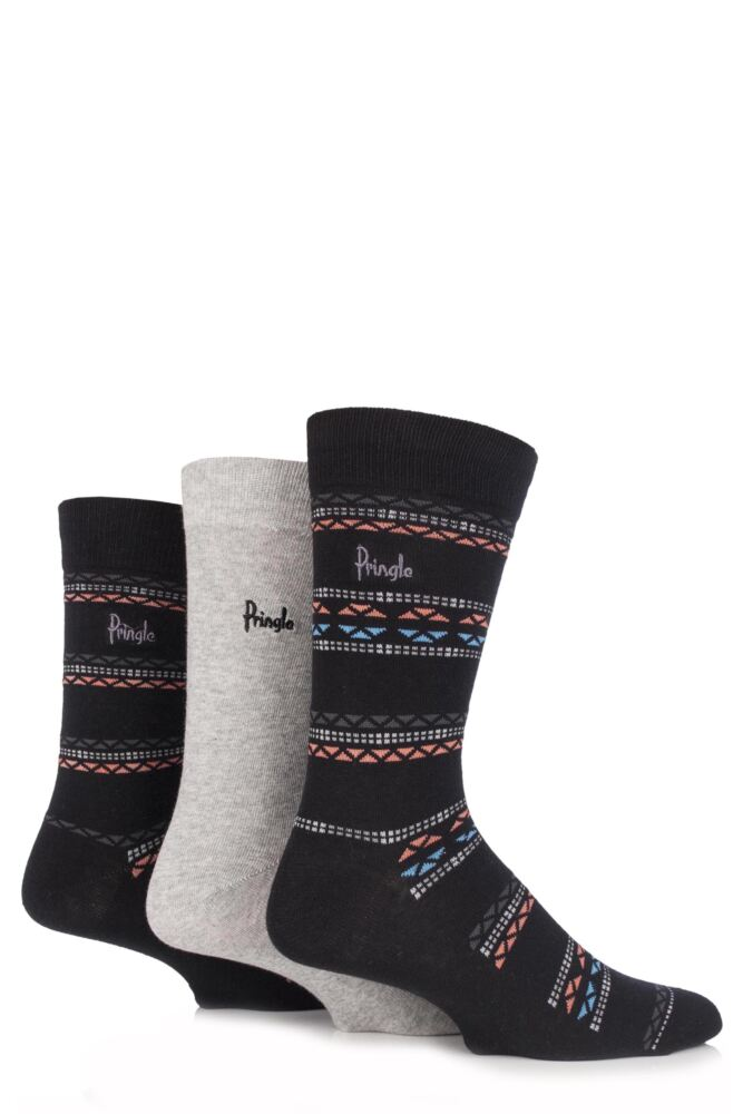 Mens 3 Pair Pringle Viewpark Fair Isle and Plain Cotton Socks 25% OFF This Style
