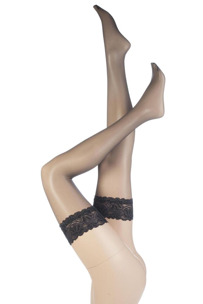 Ladies 1 Pair Aristoc Sensuous 10 Denier Lace Top Hold Ups