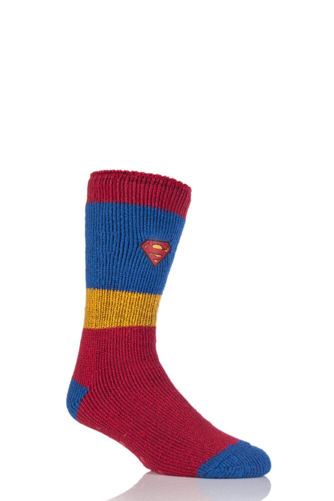 Mens 1 Pair Heat Holders DC Comics Superman Slipper Socks with Grip
