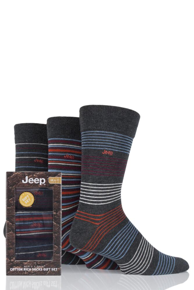 Mens 3 Pair Jeep Narrow Striped Cotton Socks Gift Box