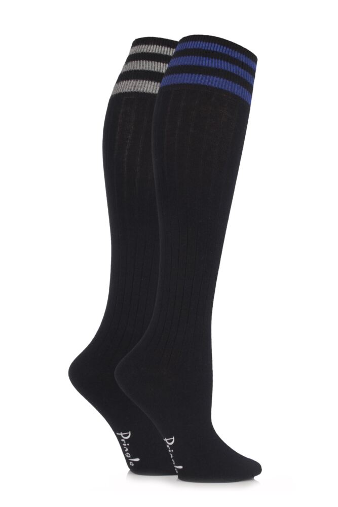 Ladies 2 Pair Pringle New Emma Sporty Rib Knee High Socks