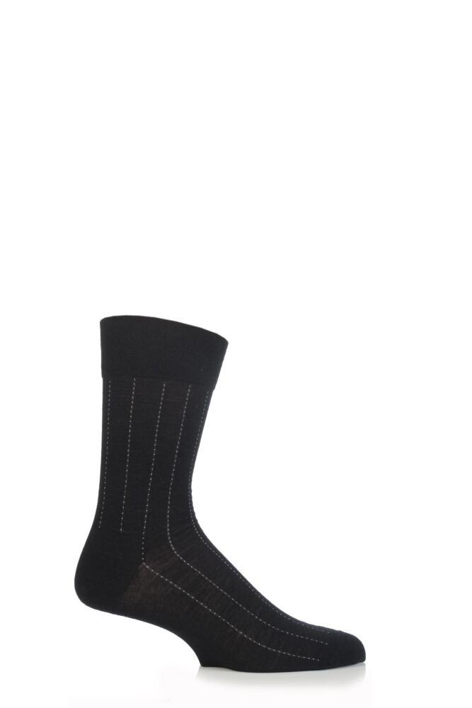Mens 1 Pair Falke Sensitive Wool Dot Pinstripe Socks