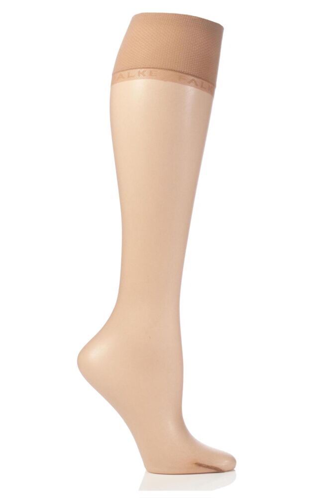 Ladies 1 Pair Falke Shelina 12 Denier Ultra Transparent Knee Highs With Shimmer