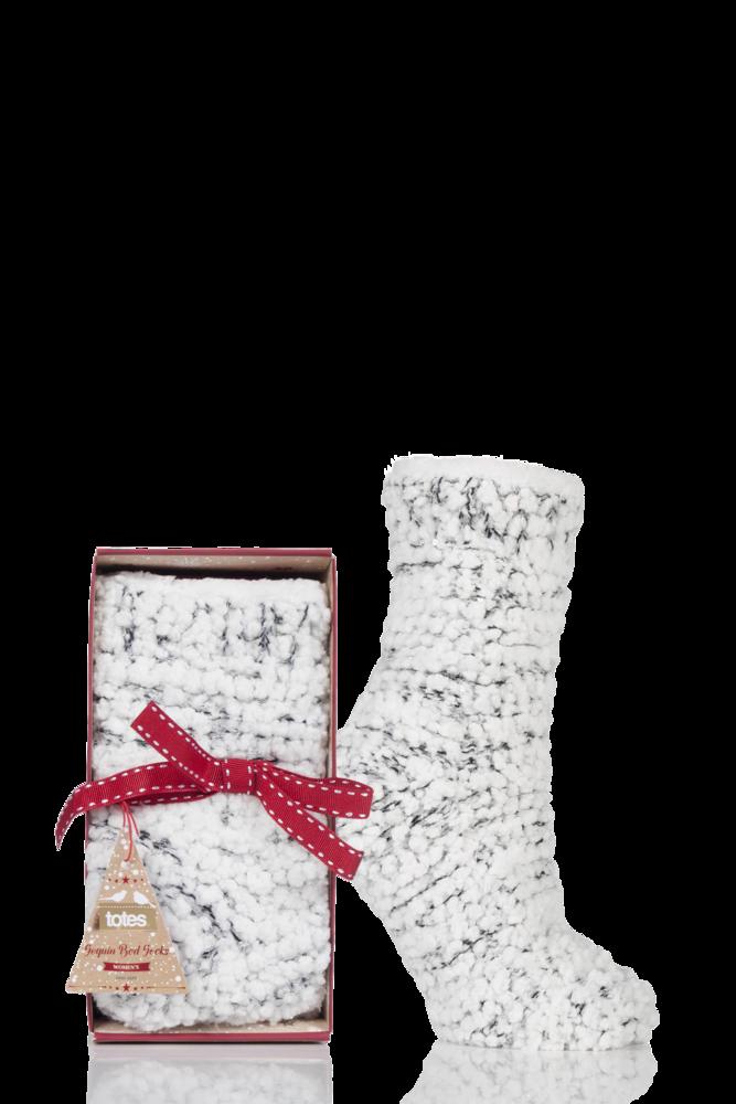 Totes Super Soft Sequin Fluffy Bed Socks