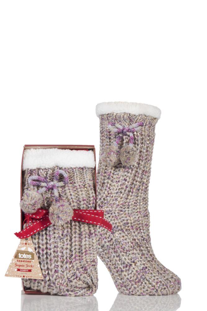 Ladies 1 Pair Totes Fleece Lined Ribbed Lurex Shine Slipper Socks with Pom Pom