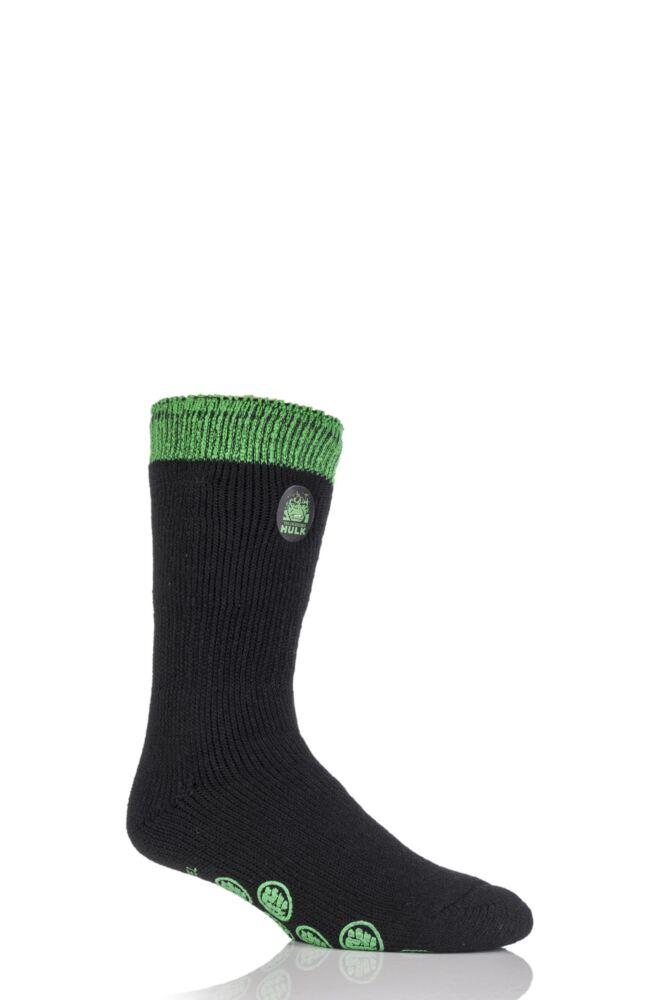 Mens 1 Pair Heat Holders Marvel Comics The Incredible Hulk Slipper Socks with Grip