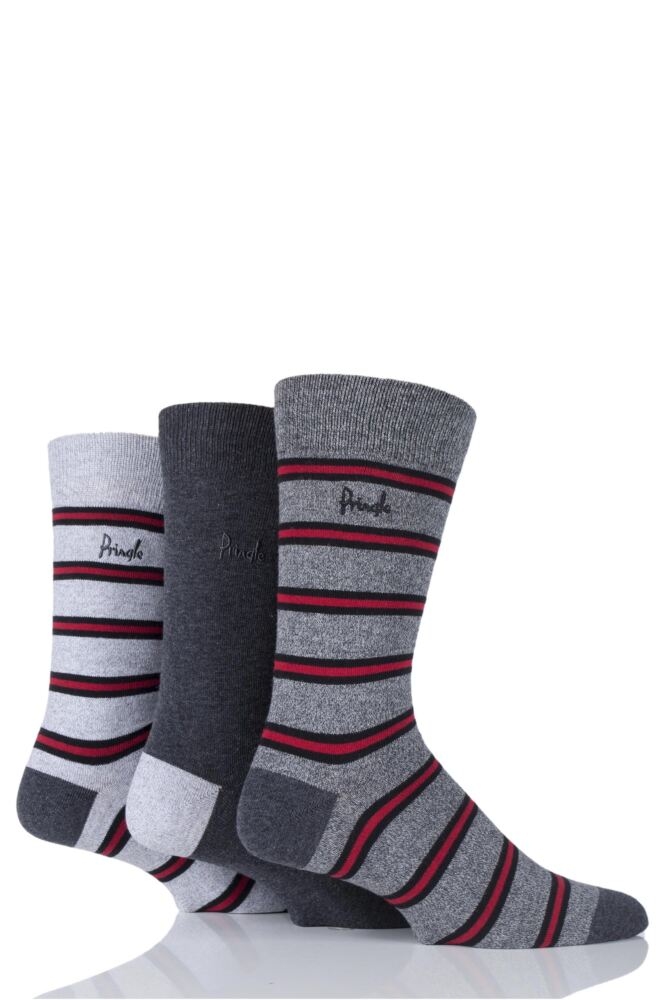 Mens 3 Pair Pringle Angus Plain and Marl Striped Cotton Socks