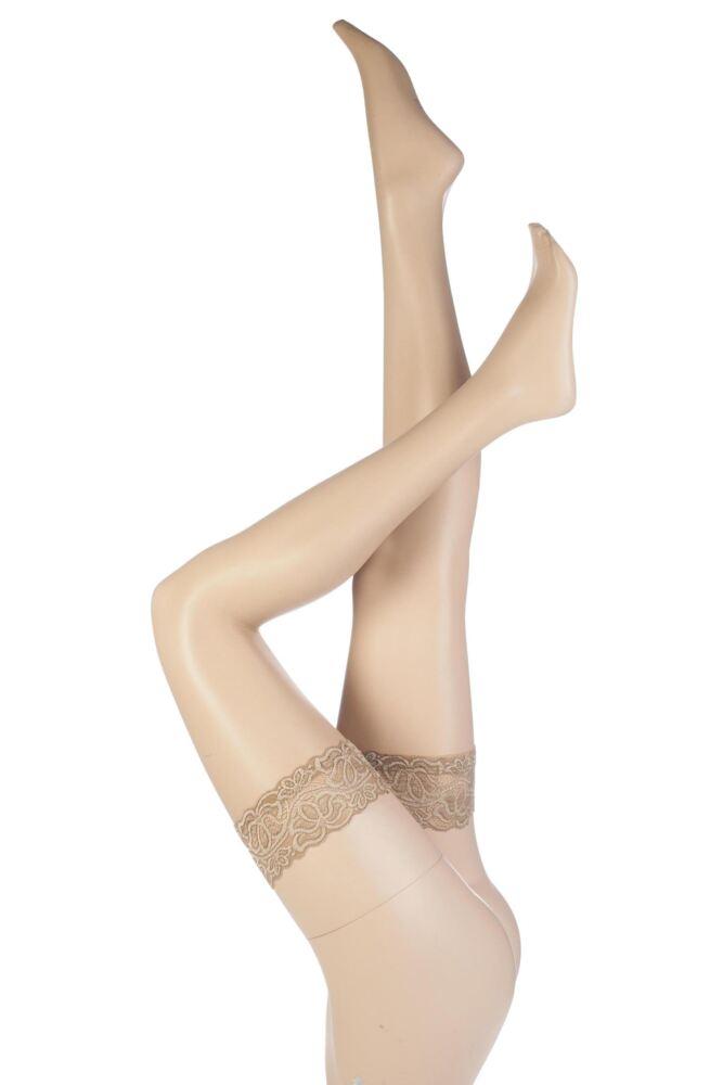 Ladies 1 Pair Aristoc Sensuous 10 Denier Lace Top Hold Ups