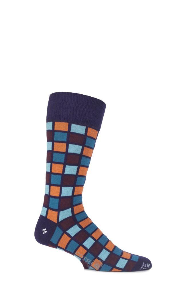 Mens 1 Pair Corgi 75% Cotton Multi Coloured Square Patterned Socks